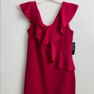 Hot pink sip up ruffle dress from New York & Co